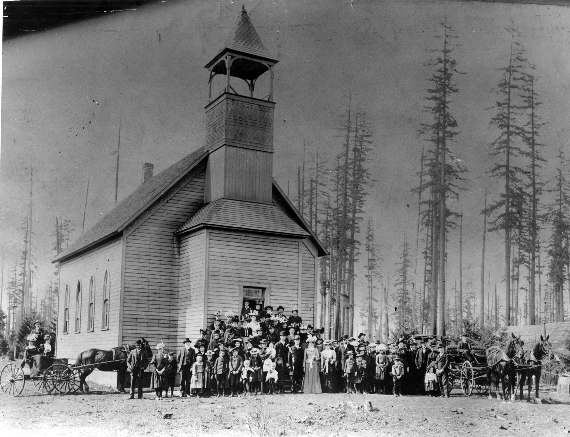 Brush Prairie Baptist Church, 1900. This picture shows the Brush.