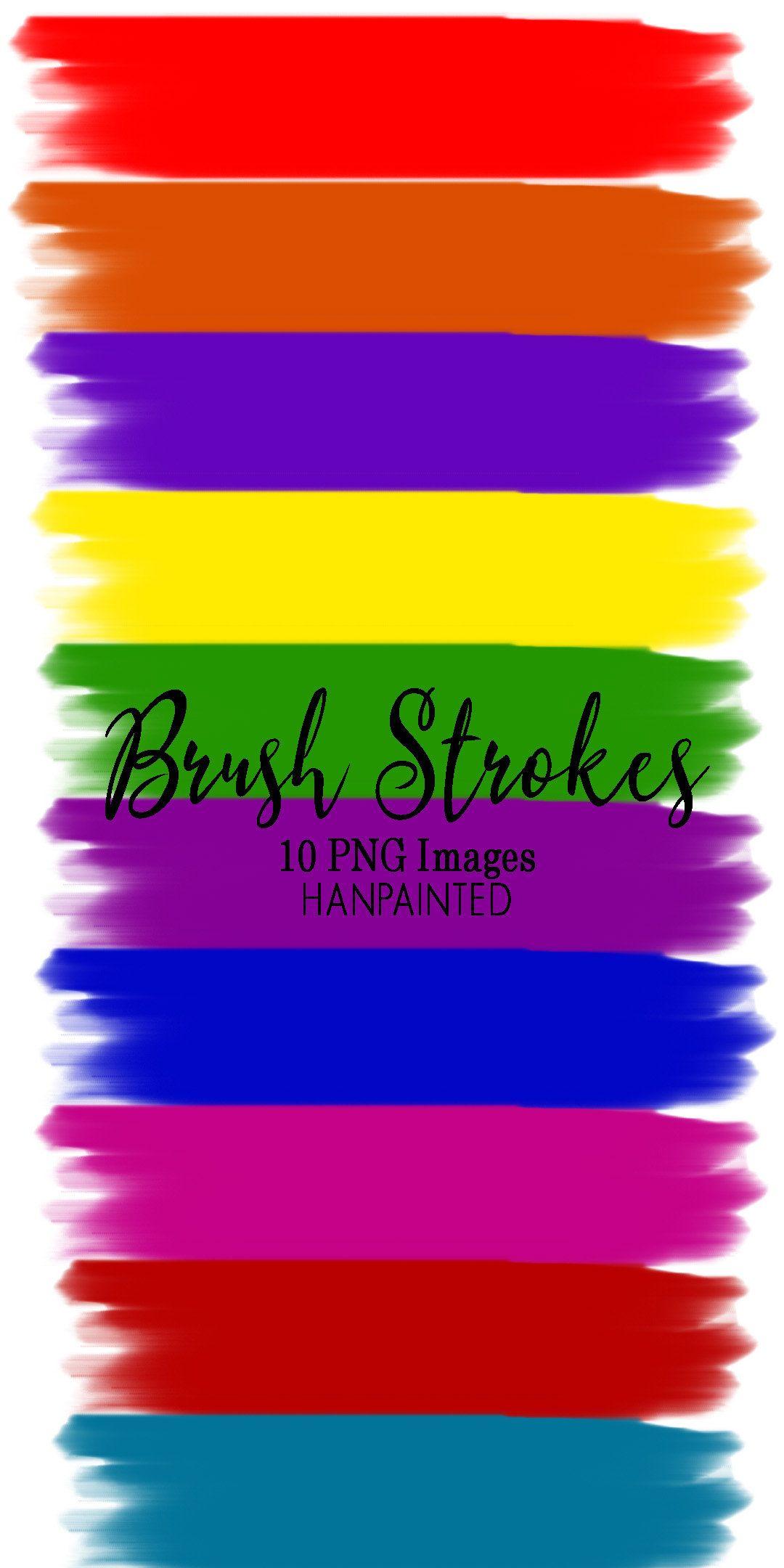 Watercolor Brush Strokes Clip Art, Primary Rainbow Colors.