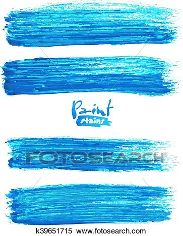 Bright blue acrylic brush strokes Clipart.