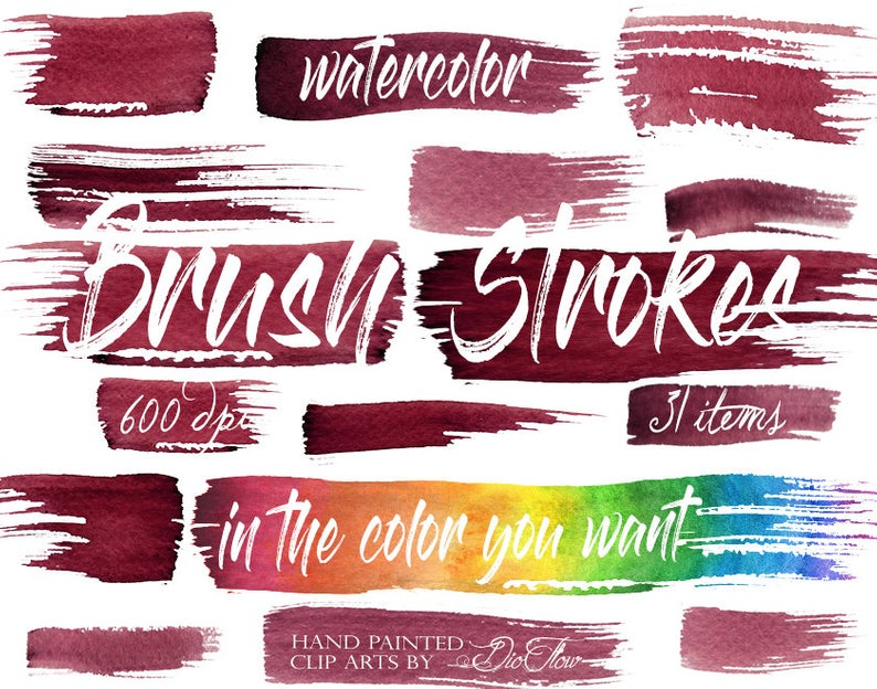 Watercolor Brush Stroke Clipart Strokes Clip Art Decor Illustration Wedding  Invitation Color Hue Painted Brush Colors Clipart.