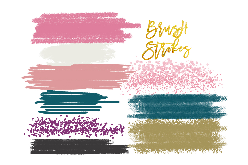 Digital watercolor brush strokes, acrylic brush, digital brush stroke,  digital brush stroke, brush strokes clipart set, elements clipart.