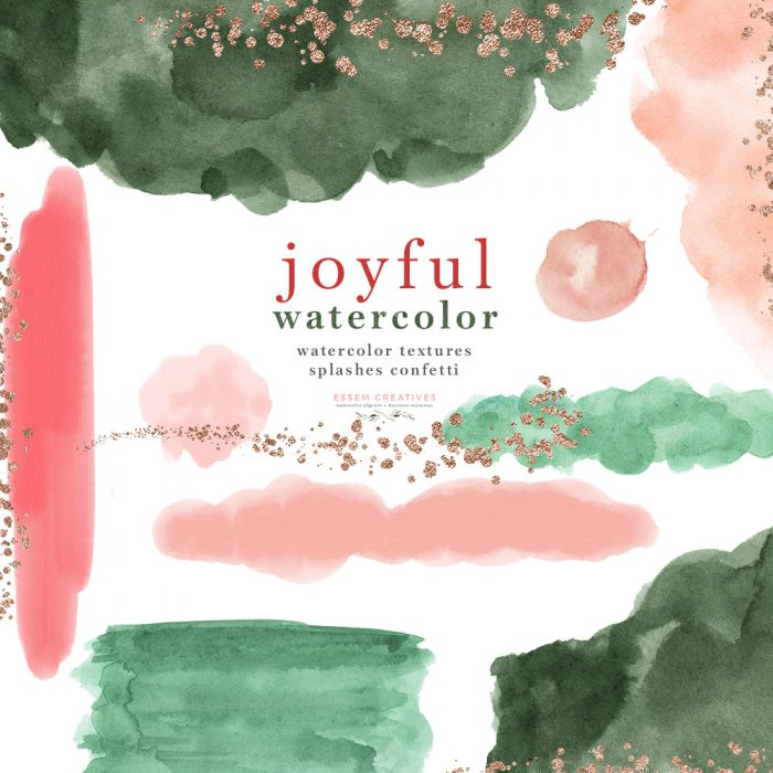 Holiday Watercolor Splash Brush Stroke Clipart for Abstract Wall Art Print,  Logo Branding, Wedding Invitations.