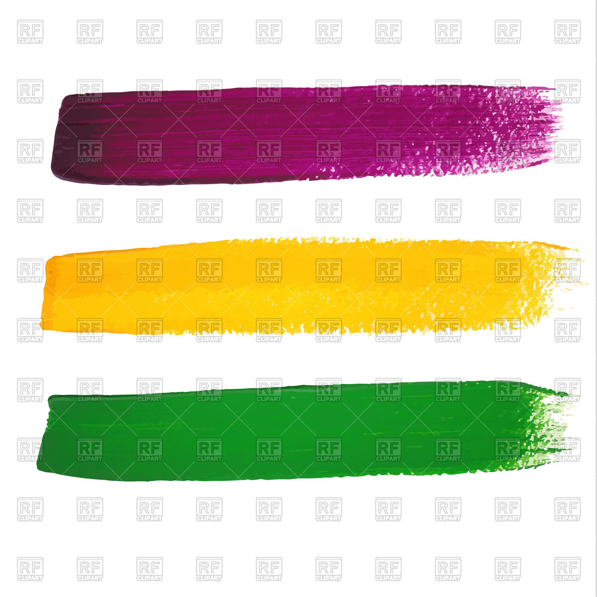 Mardi Gras watercolor brush strokes Stock Vector Image.