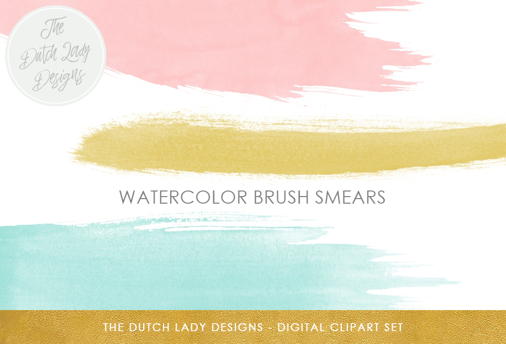 Watercolor Paint Brush Strokes Clipart.