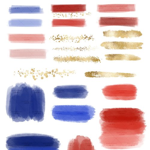 Blue Red Gold Digital Watercolor Paint Brush Strokes Textures Clipart PNG.