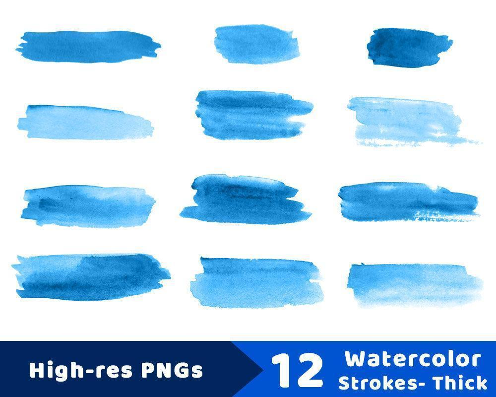 12 Watercolor Brush Strokes Clipart.