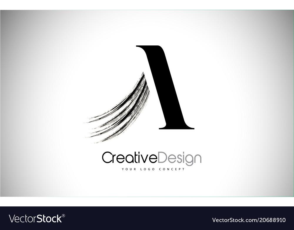A brush stroke letter logo design black paint.