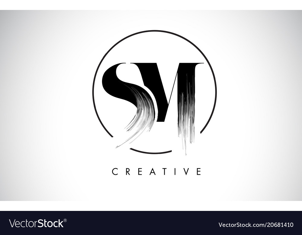 Sm brush stroke letter logo design black paint.