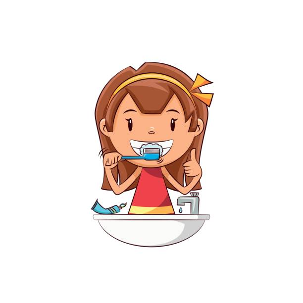 Woman Brushing Teeth Clipart.