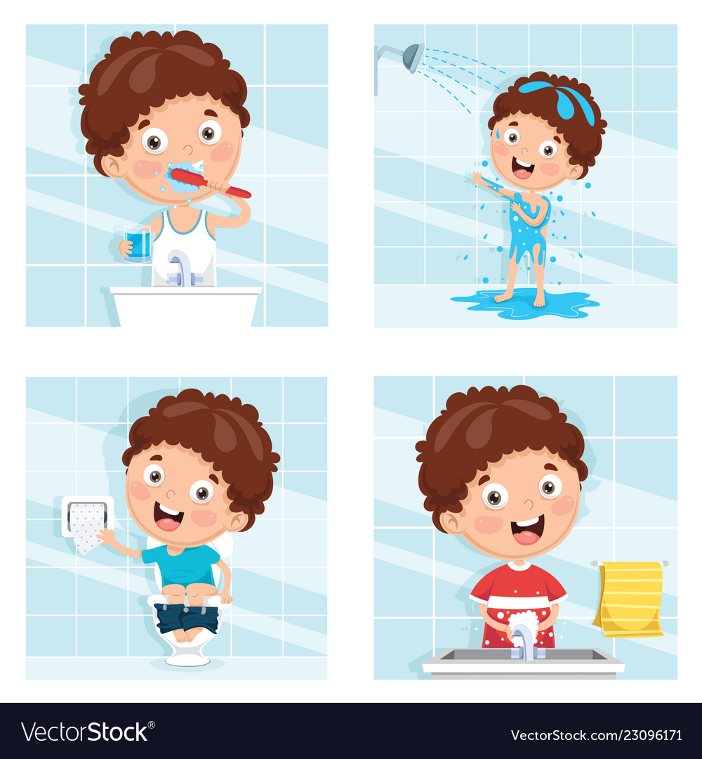 Of kid bathing brushing teeth.