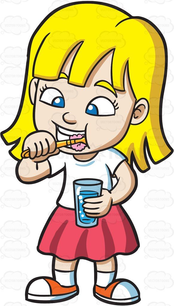 A cute girl brushing her teeth #cartoon #clipart #vector.