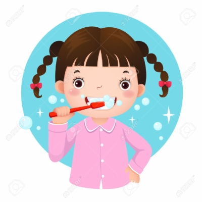 girl brush teeth , Free clipart download.