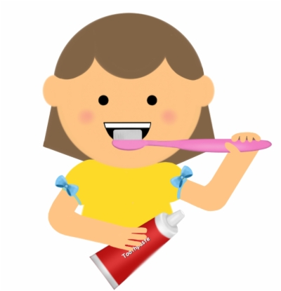 girl brush teeth , Free clipart download.