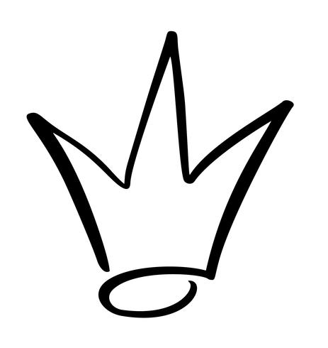 Hand drawn symbol of a stylized crown. Drawn with a black.