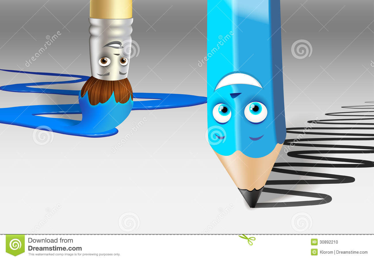 Cartoon Pencil And Brush At Work Stock Photo.