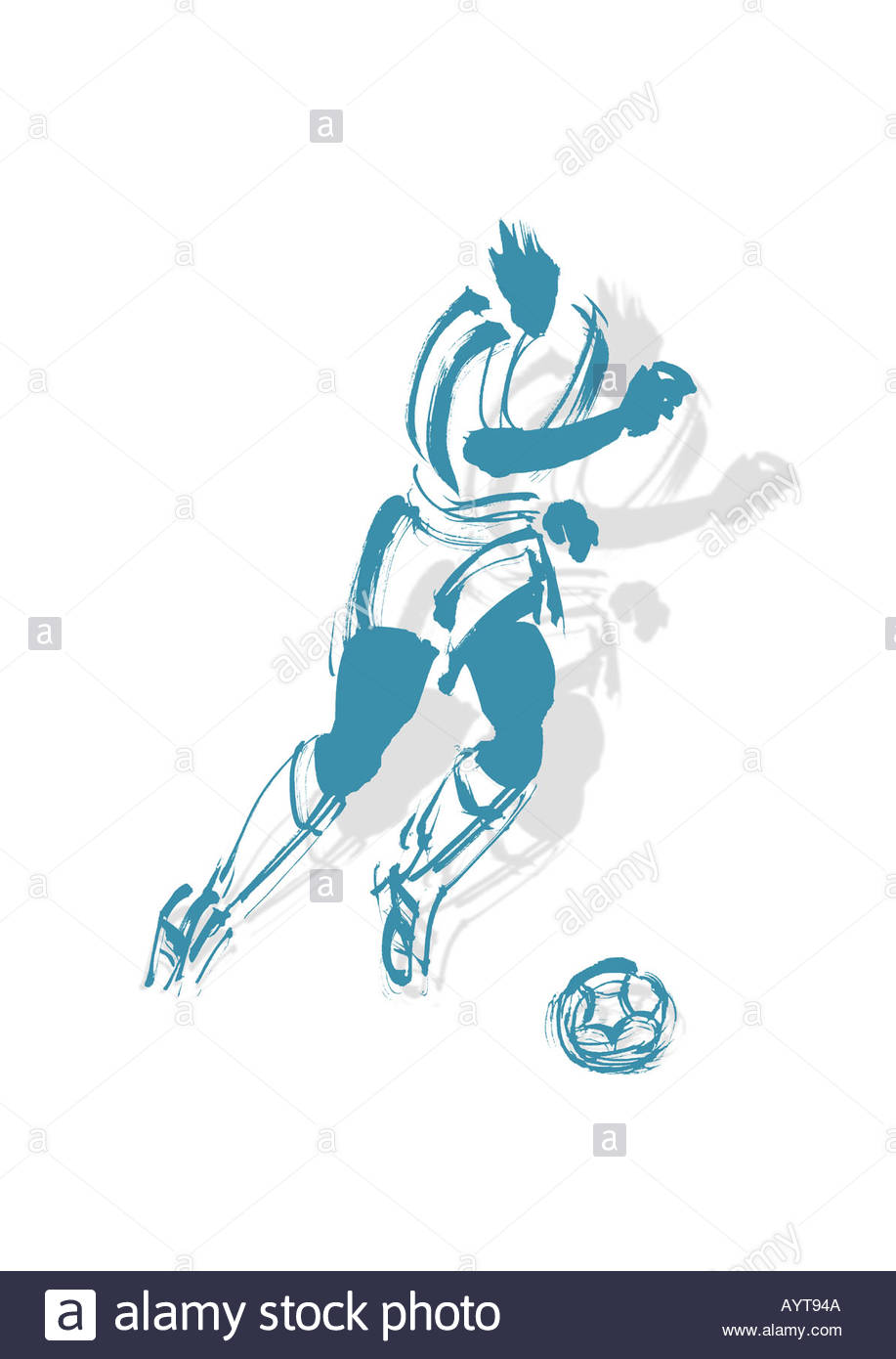 Artistic Color Brush Work Illustration Of A Soccer Player Stock.