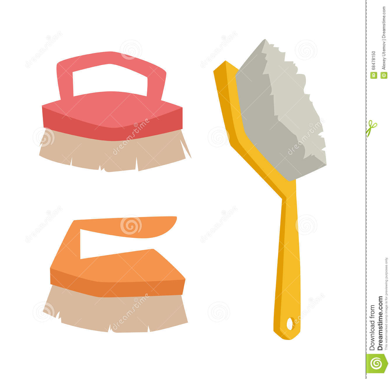 Vector Cleaning Brush Icon Flat Modern Design House Work Equipment.