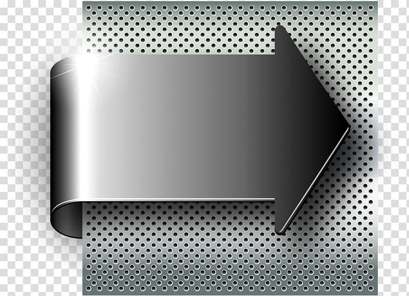 Gray arrow illustration, Brushed metal Illustration, Metal.