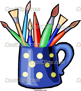 Cup Of Pencils And Brushes Clipart.