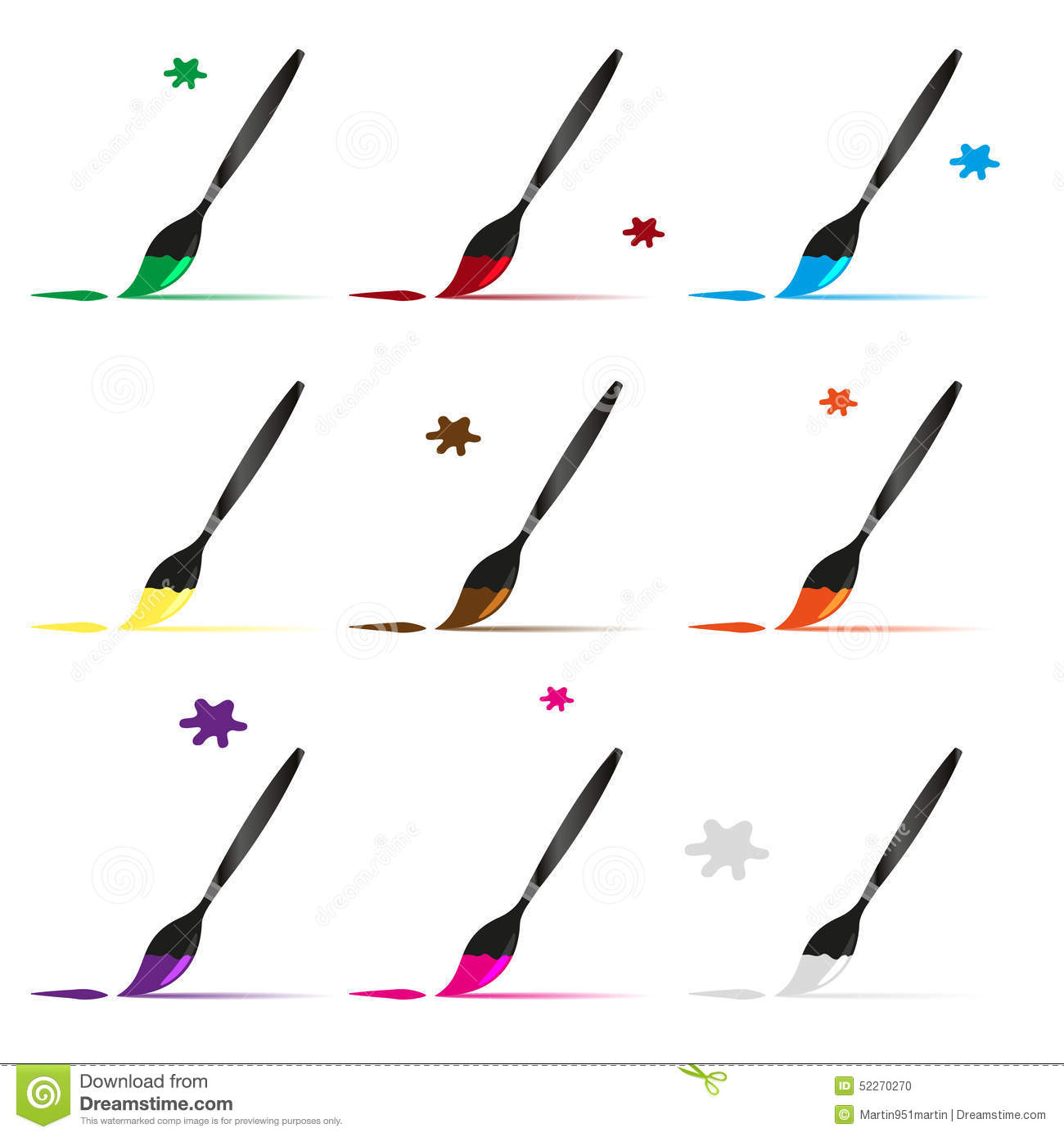 Color Paint Brush And Paint Vector Icons Set Stock Vector.