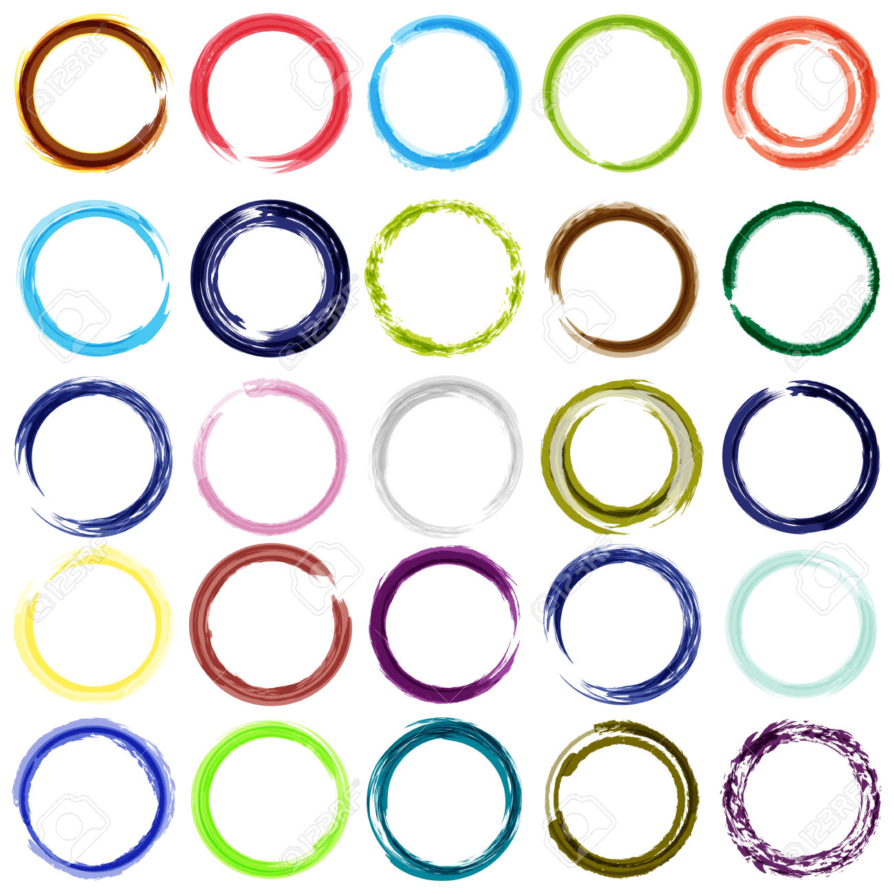 Set Of 25 Diferent Color Circle Brush Strokes Royalty Free.