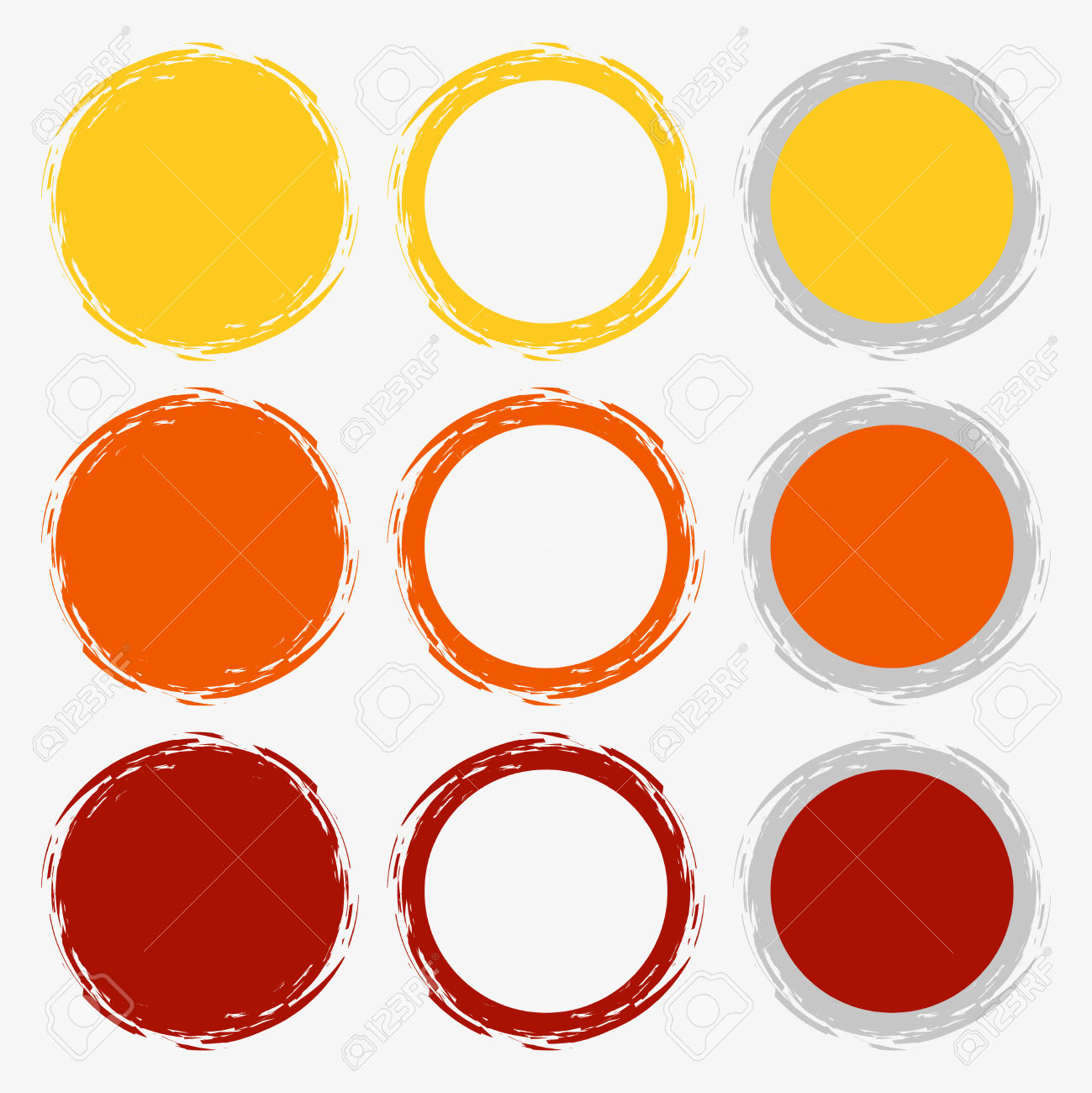 Clean Vector Warm Color Set Of Brush Smudges Royalty Free Cliparts.