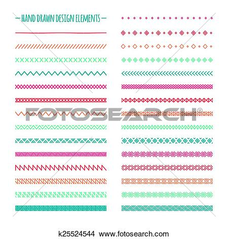 Clipart of Hand drawn vector line border set and scribble design.