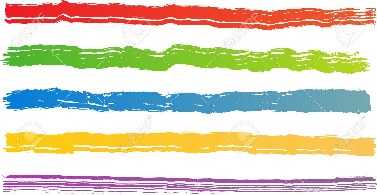 Set Of Five Rough Color Brush Strokes. Each Vector Brush Stroke.