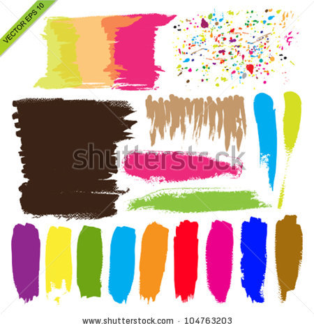 Set Color Brush Vector Stock Vector 104763203.