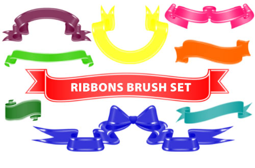 18 Curly Ribbon Clip Art Photoshop Brushes.