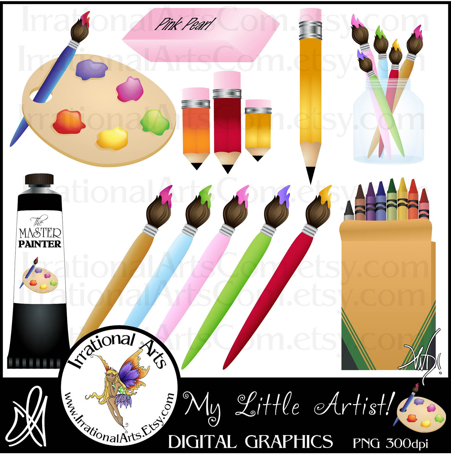 Paint Cans And Brushes Clip Art.