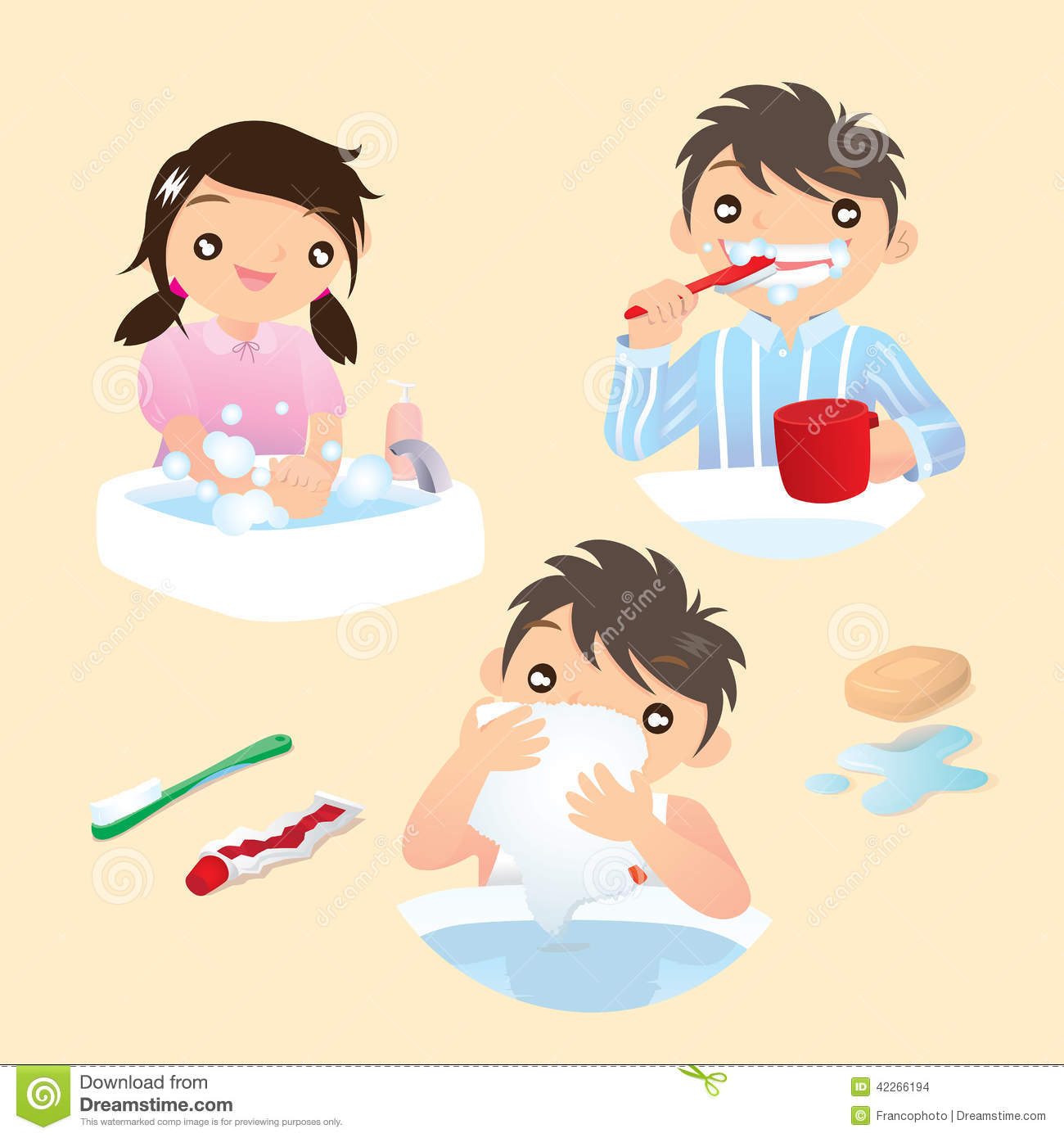 Boy brush teeth and wash face clipart.