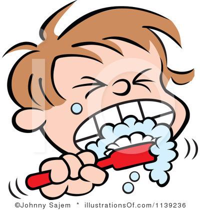Free clip art brushing teeth.