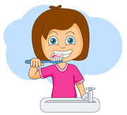 Girl Brush Teeth Clipart.