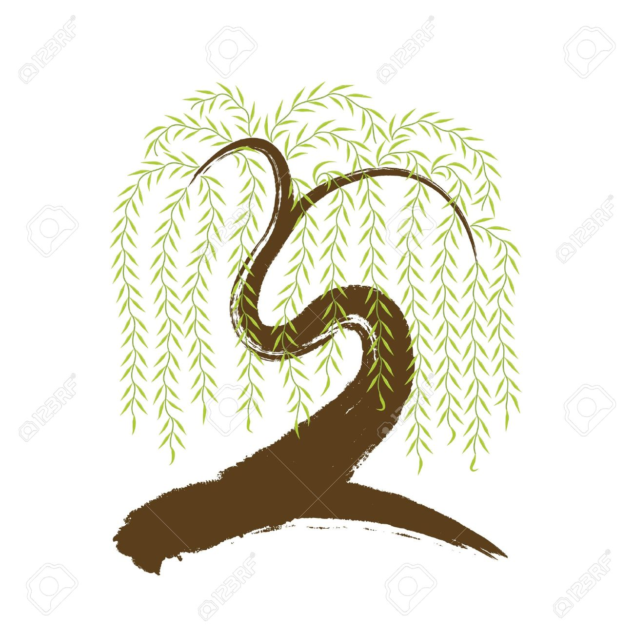 Vector Artistic Asian Brushwork Willow Tree Royalty Free Cliparts.