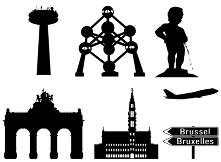 Brussels in Silhouettes, Vector Image.