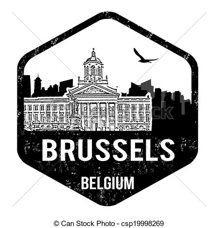 Clipart Vector of Brussels stamp.