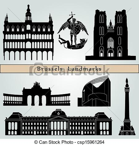 Clip Art Vector of Brussels landmarks and monuments isolated on.
