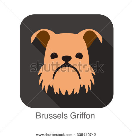 Brussels Griffon Dog Face Flat Icon, Dog Series Stock Vector.