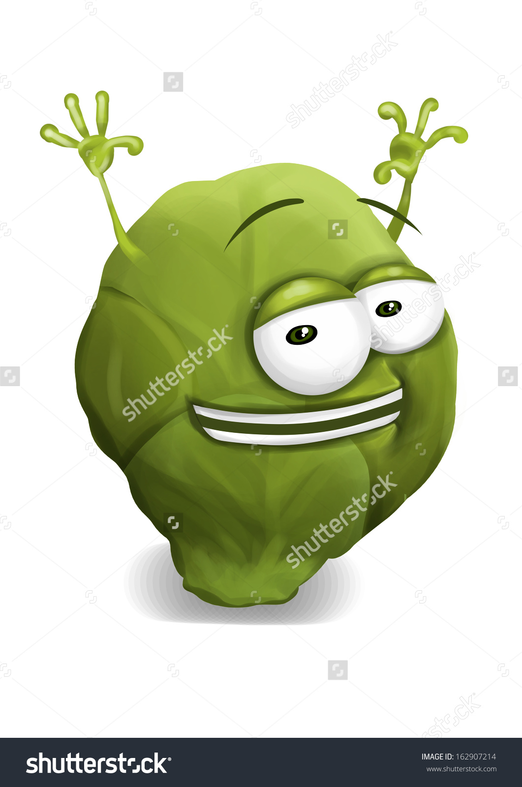 Happy Brussel Sprouts Cute Funny Brussels Stock Illustration.