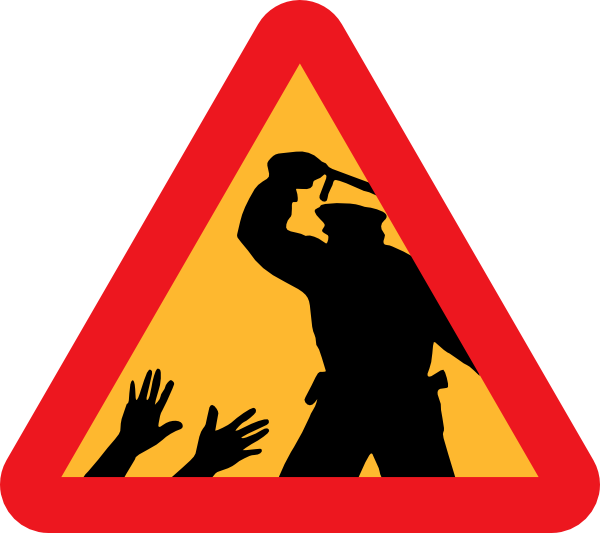 Warning For Police Brutality clip art Free Vector / 4Vector.