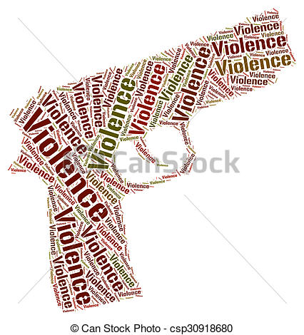 Stock Illustration of Violence Word Indicates Brute Force And.