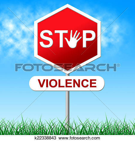Drawing of Stop Violence Means Brute Force And Caution k22338843.