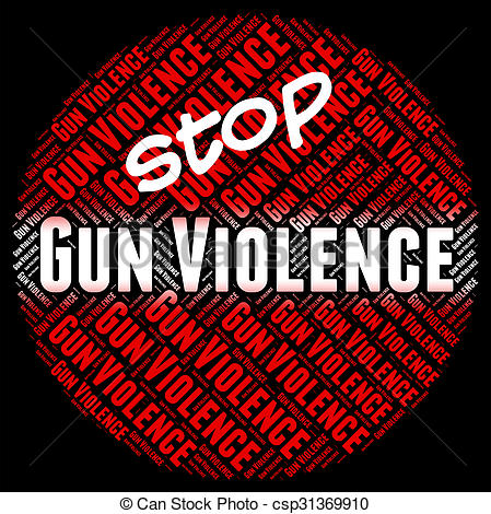 Clipart of Stop Gun Violence Shows Brute Force And Brutality.