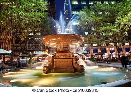 Stock Photo of Fountain Bryant Park New York City Night.
