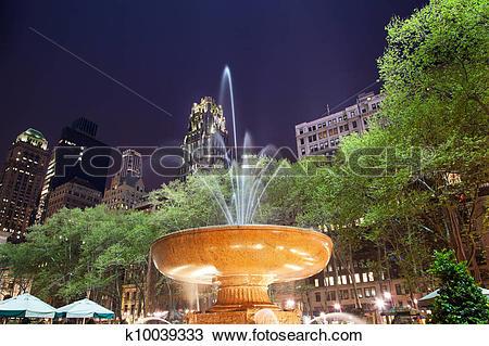Stock Photo of Fountain Bryant Park New York City Night k10039333.