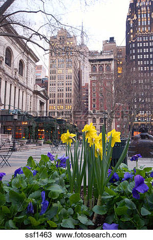 Stock Photo of Spring flowers and sidewalk patio at Bryant Park.