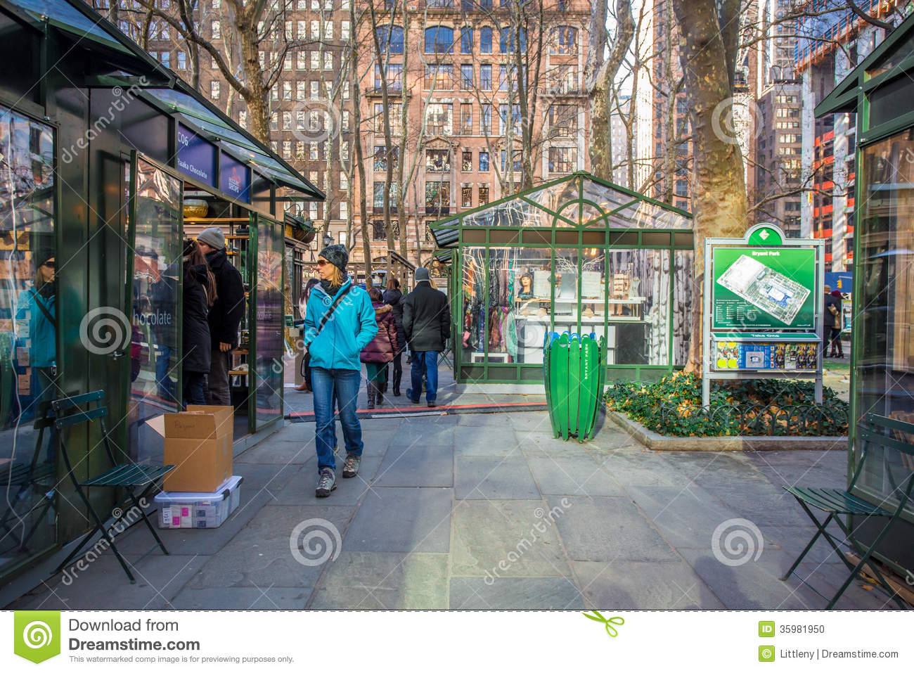 Bryant Park NYC Editorial Image.