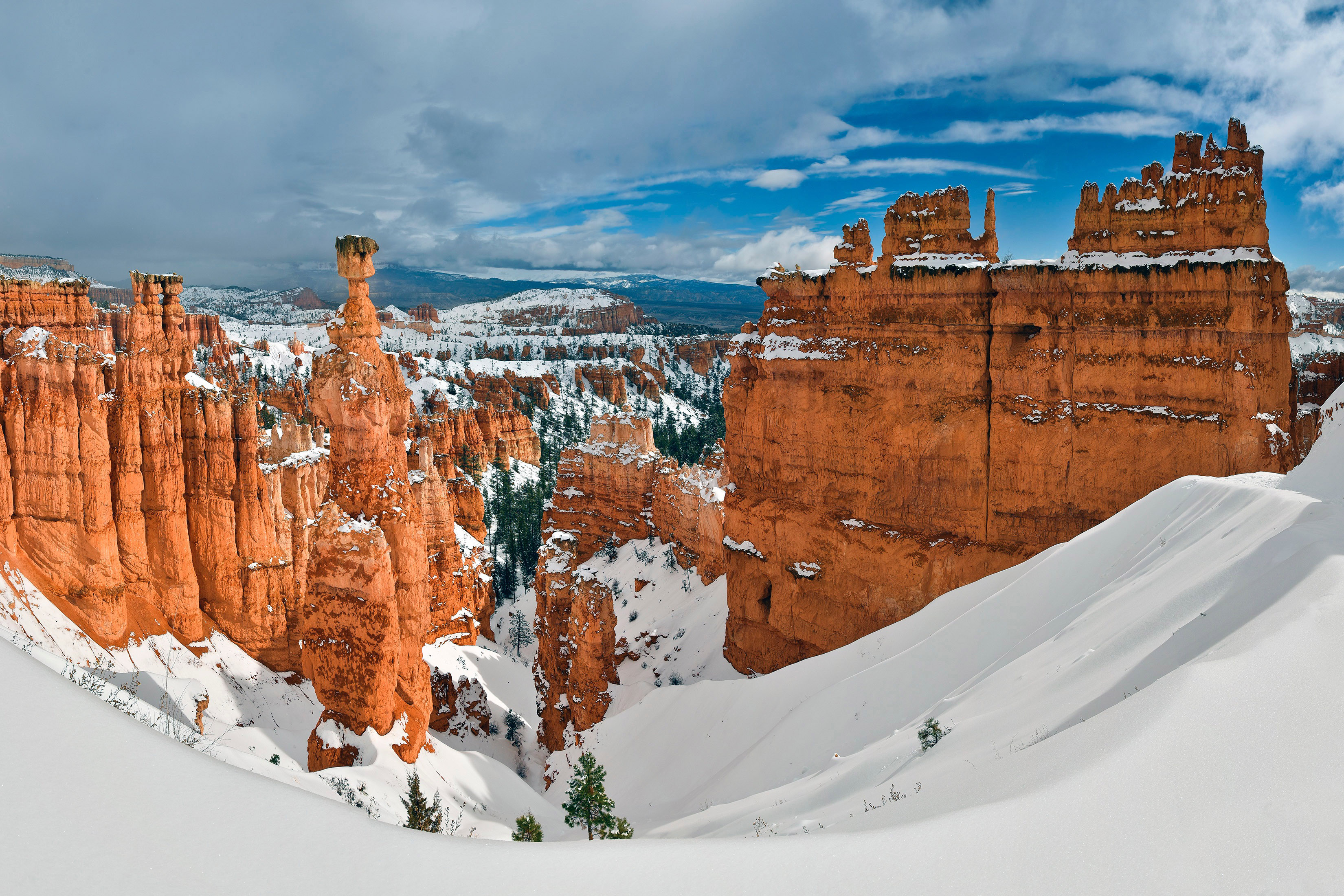 Winter Landscape with Thor's Hammer in Bryce Canyon National Park.