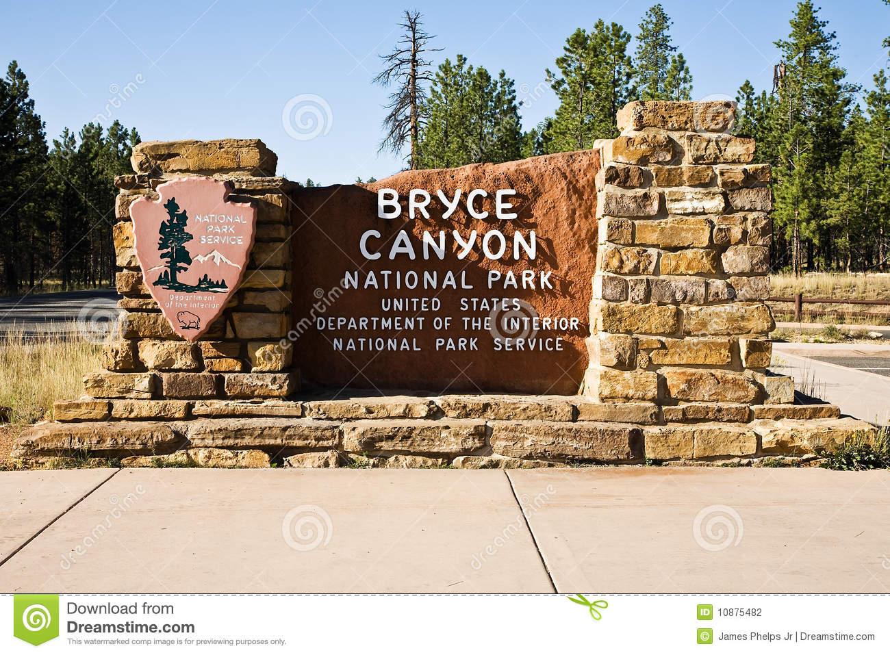 Bryce Canyon National Park Entrance Sign Stock Photography.